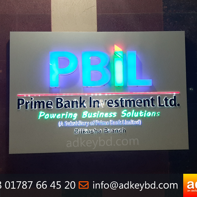 Name Plate ACP Off Cut Board with Acrylic Top Letter with LED Lighting with Advertising and Branding with Indoor and Outdoor Signage