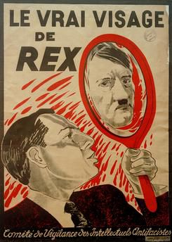 """Le Vrai Visage de Rex"" (Léon Degrelle and Adolf Hitler). – Antifascist poster, around 1937, by René Magritte (1898–1967)"
