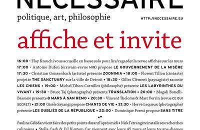 La revue Nécessaire affiche et invite à La Générale, 9 janvier (16h-22h)