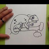 Como dibujar un camaleon paso a paso   How to draw a chameleon