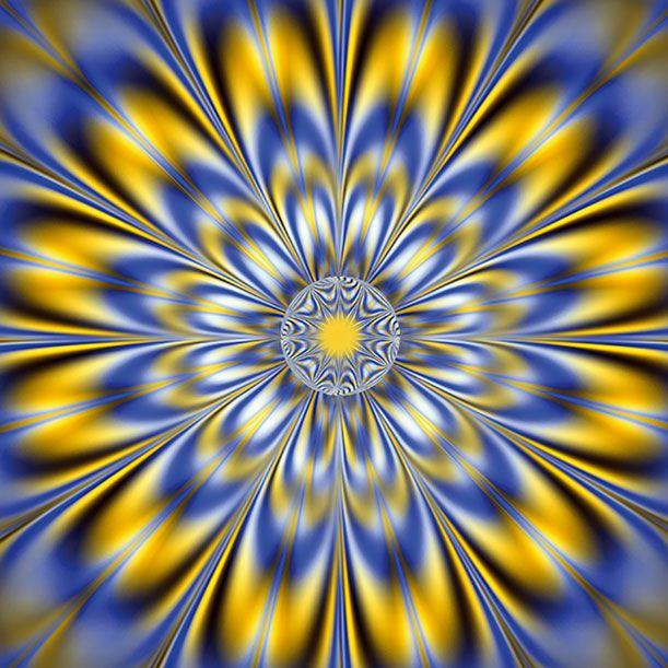 des motifs bleus blancs et jaunes comme des plumes disposés en étoile