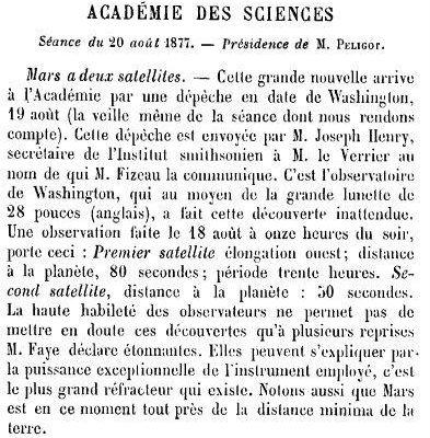Mars a deux satellites (1877) Académie des sciences