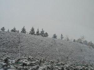 Le lendemain matin lorsque nous partons, il neige, le vent est glacial! Quelques imagescaptées par la fenêtre du bus...