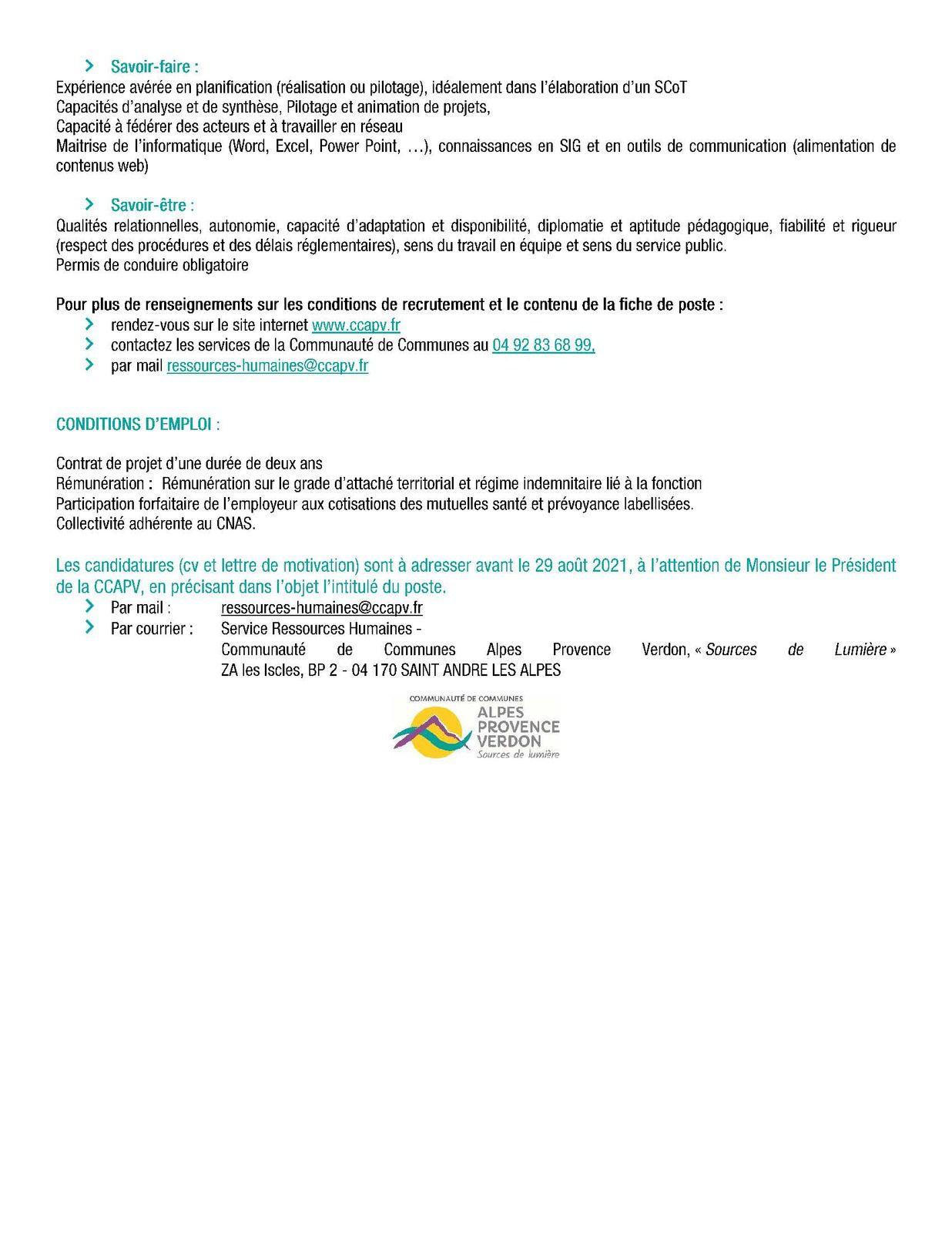 Offre emploi CCAPV  : Un(e) chef de projet scot (candidature avant 29 août