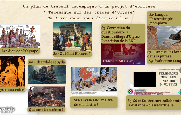 """Séquence   -  Ulysse et l'Odyssée d'Homère/  """"Télémaque sur les traces d' Ulysse"""",  Un livre dont vous êtes le héros."""