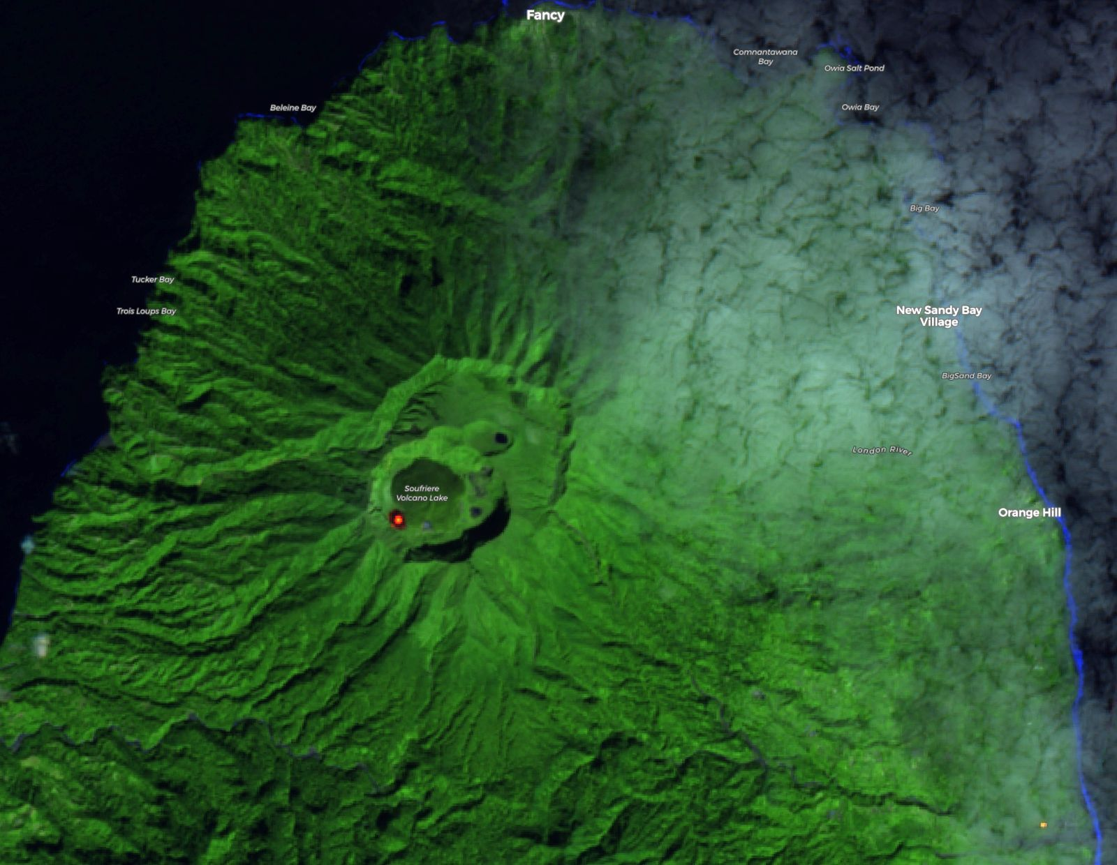 Soufrière st Vincent - glow of the dome and its location - image Sentinel-2 SWIR 03.01.2021 / Copernicus via S. Carn - one click to enlarge