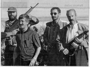Sedat Bucak with some of his bodyguards (Radikal, Novembre 5 and 11, 1996) - click to enlarge