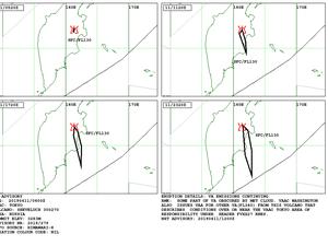 Sheveluch - Volcanic ash advisory pour les 10 et 11.04.2019 - Doc.VAAC Tokyo - un clic pour agrandir