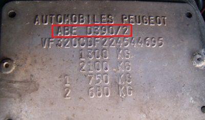 Plaque constructeur 205GTi Export Allemande