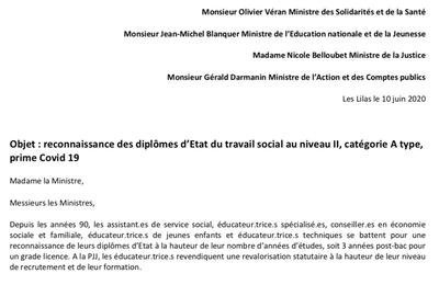 Courrier aux ministres : la FSU revendique une juste reconnaissance du travail social
