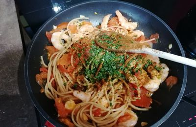 Spaghettis aux crevettes express