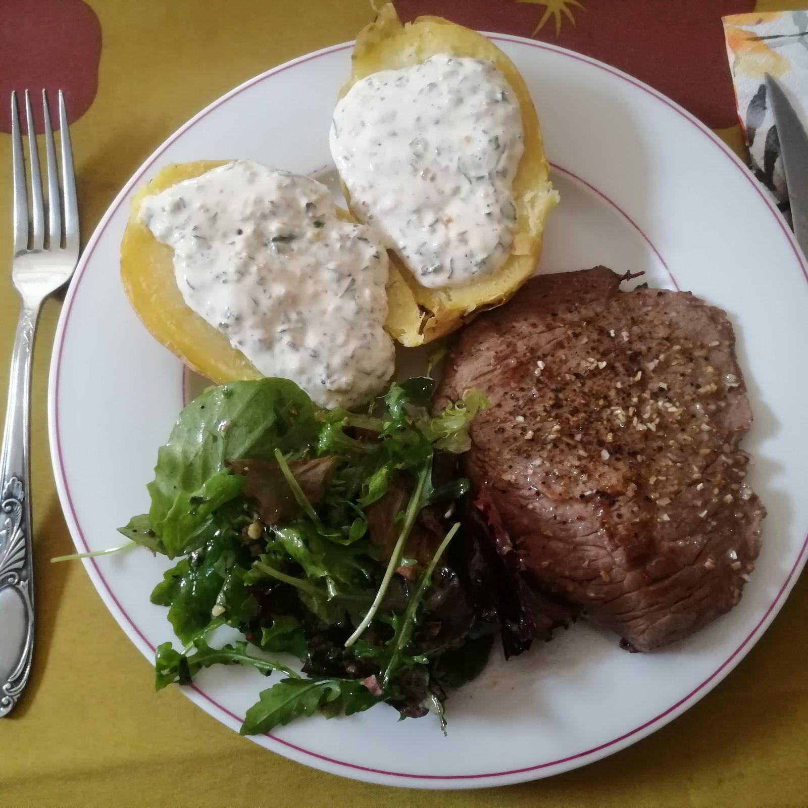 Bavette d'aloyau d'Aubrac poêlée (cuisine de vacances)