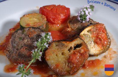Duezmeh, gratin de keuftés aux légumes