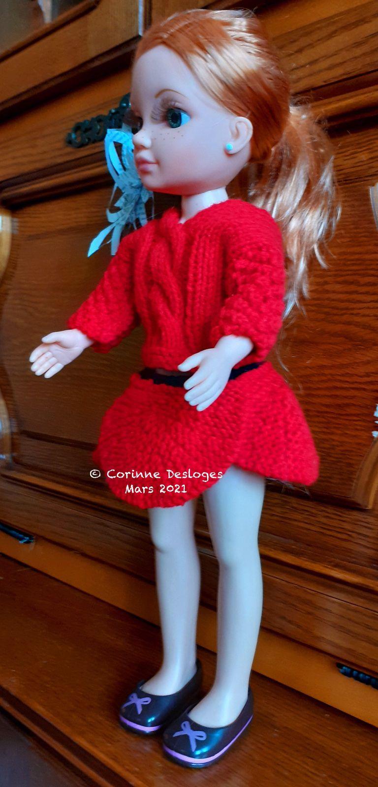 TRICOT : ensemble Coquelicot pour poupée Nancy (42 cm de haut)