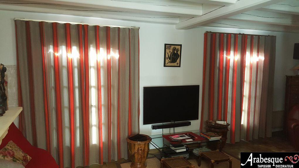 installation tringle vague et tissu rayures arabesque tapissier decorateur 63 thiers