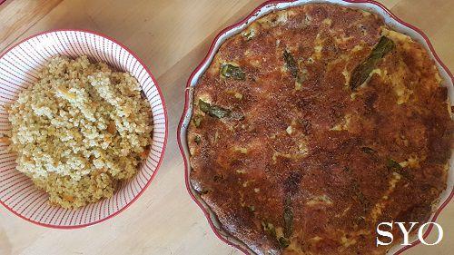 Quiche sans pâte gratinée, aux Asperges vertes et son Millet gourmand