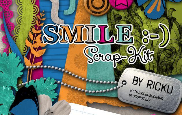 Kit de scrapbooking Smile - I love you - en téléchargment - textures et embellissements