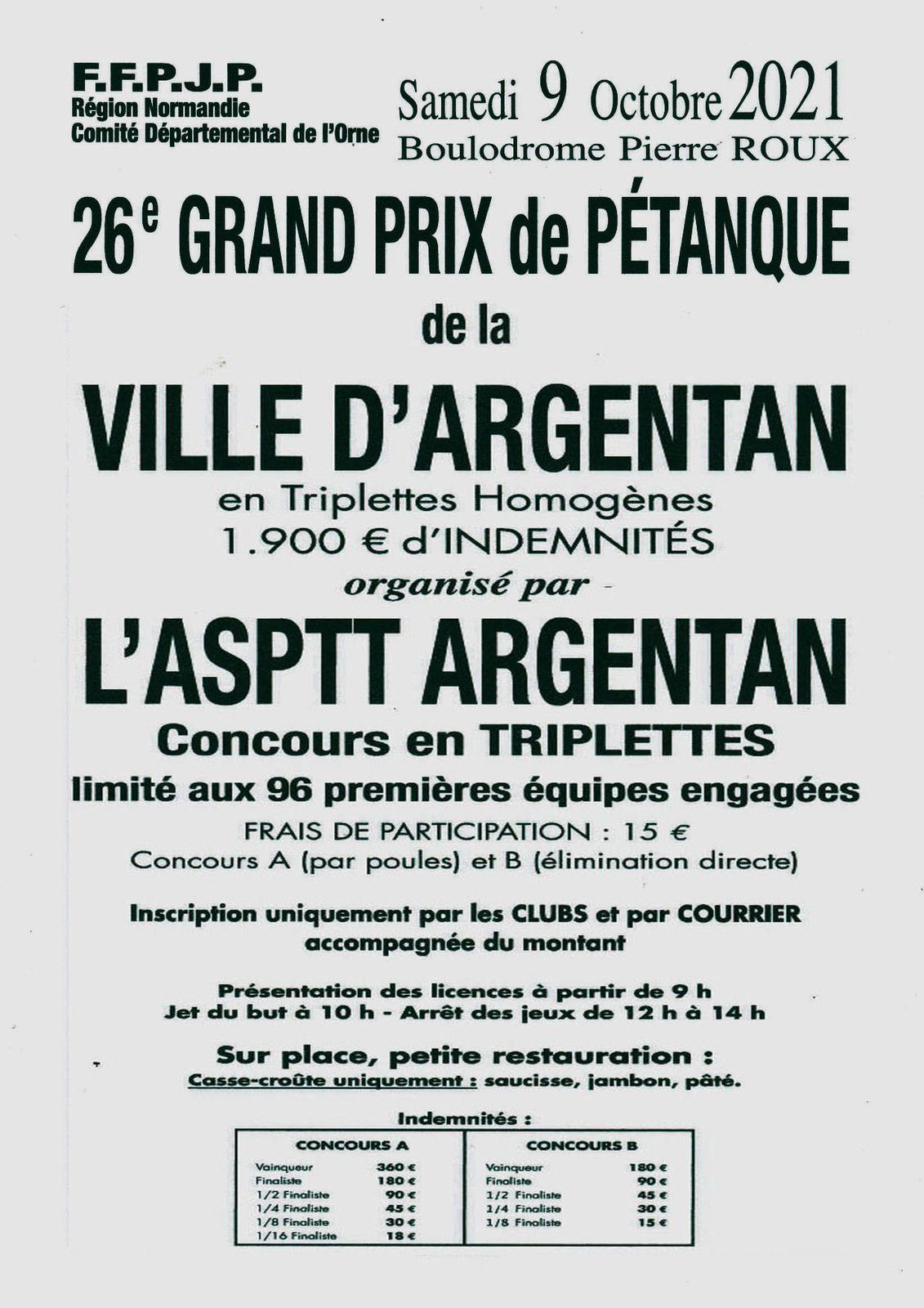 2021-10-09 Affiche Asptt Argentan 26 ème GP d'Argentan Triplette