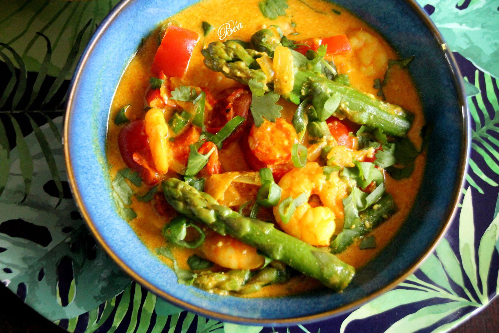 Curry de crevettes et asperges  vertes