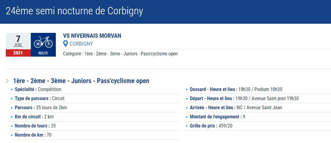24ème semi nocturne de Corbigny, le 07 juillet 2021 - 1ère - 2ème - 3ème - Juniors - Pass'cyclisme open...
