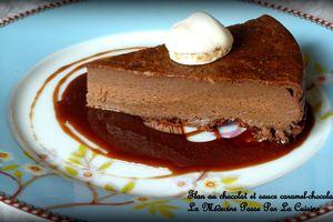 Flan au chocolat noir et sauce caramel-chocolat pour les goûters des écoliers