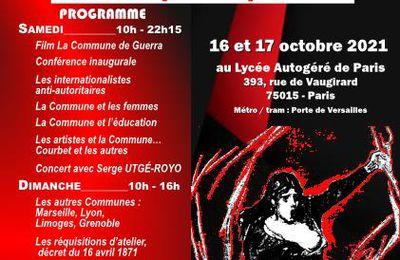 Colloque '' il y a 150 ans la Commune de Paris '' 16 et 17 Octobre 2021