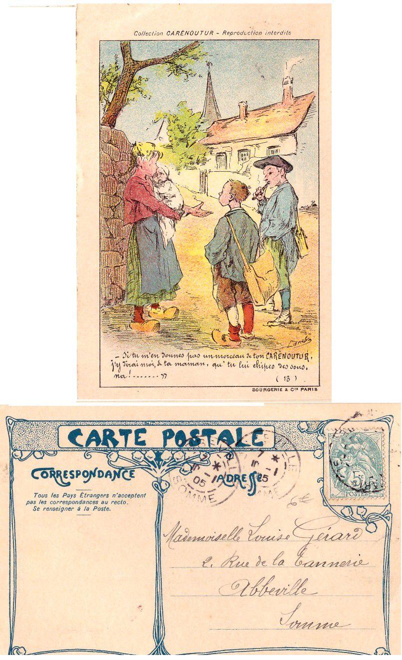 Carte Postale Ancienne publicitaire collection CARENOUTUR