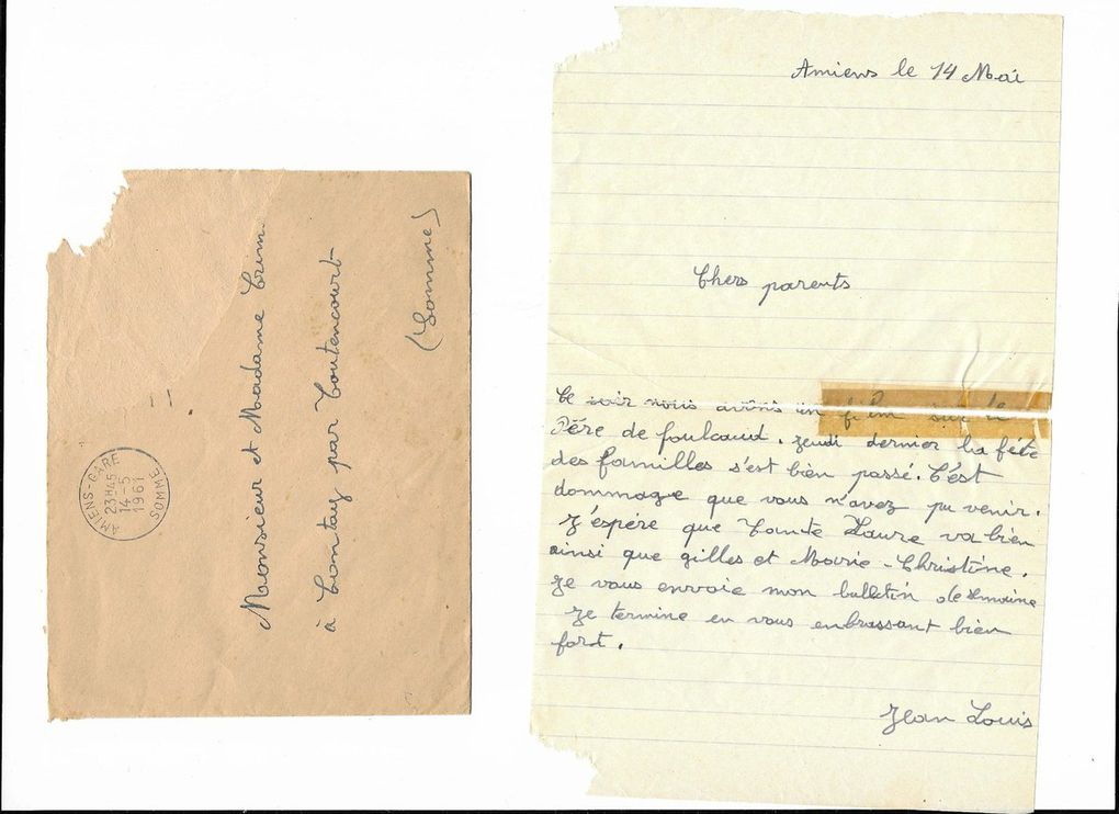 Amiens. Lettre à mes parents du 14 Mai 1961. © Jean-Louis Crimon