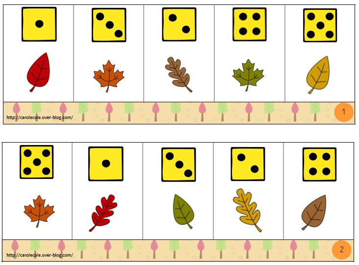 Boîtes à compter sur le thème de l'automne