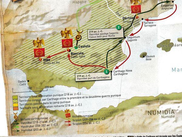 Voici le trajet qu'Hannibal suivit dans la réalité. Au premier tour le général carthaginois tente un débarquement un peu ...prématuré, ses troupes se font éliminer malgré un espion dans la bataille ! ( voir le début de la vidéo ou j'ai laissé le détails de la bataille au complet )