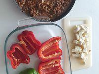 Poivrons farcies au steak haché bolognaise et mozzarella