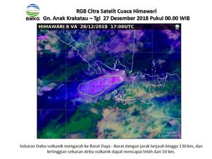 Anak Krakatau - images of the plume on 26.12.2018, at 21.30 WIB and 27.12.2018 at 0:00 WIB - images Himawari RGB Citra - one click to enlarge