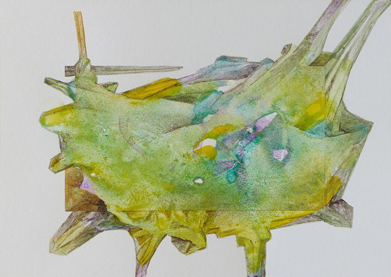 Graines de coulibelles, peintures sur papier avant groufignage numérique ci-dessus.