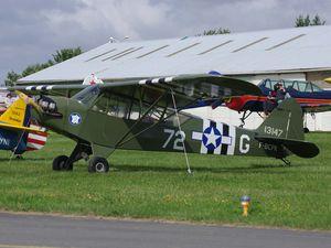 Commençons avec le Piper L-4J F-BCPK d'Amiens et le PA-18 F-PBEF venu de la Ferté Alais qui accompagnait d'autres avions de l'AJBS..