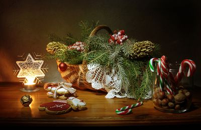 Décorations - Noël - Panier - Branches - Sapin - Biscuits - Sucre d'orge - Photographie - Wallpaper - Free