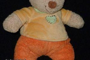 Doudou peluche ours orange jaune,coeur,Pommette