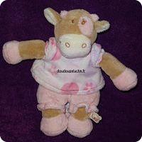 Doudou vache Noukie's , t-shirt et short rose, www.doudoupeluche.fr