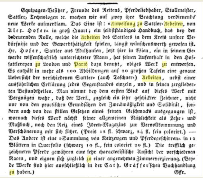 """Les différentes éditions du  """"Régulateur du sellier"""" rédigées par A. Hofer."""
