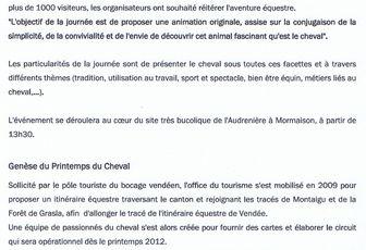 2ème édition du Printemps du Cheval à Mormaison (85) le 13 mai