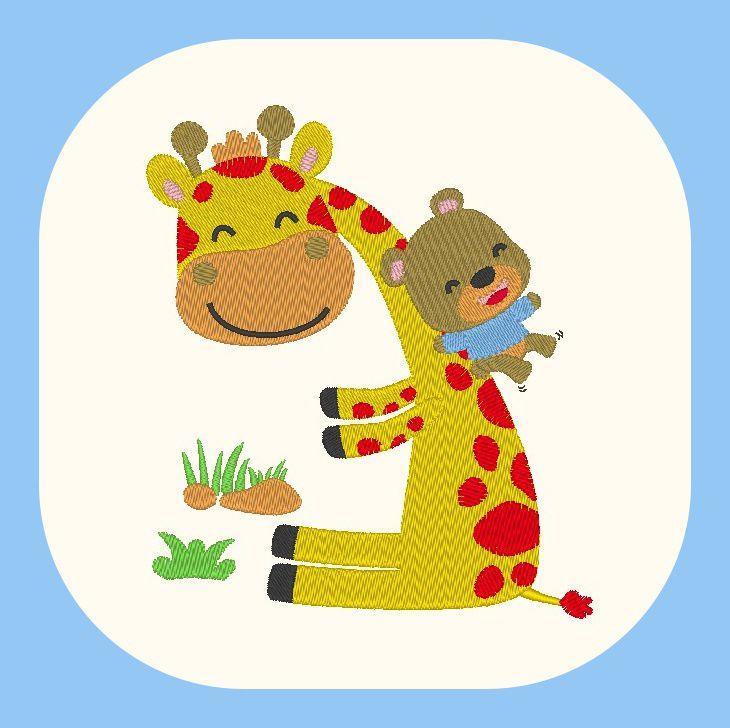 Broderie machine gratuite girafe tobogan avec ourson