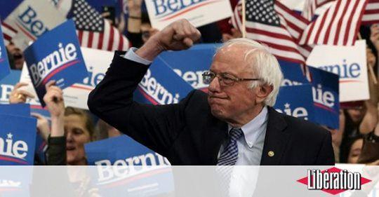 Bernies Sanders lors de la campagne démocrate pour l'élection. Photo de Libération