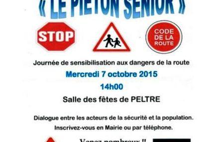 """Peltre  """"Le piéton sénior""""  sensibilisation aux dangers de la route le 7 octobre"""