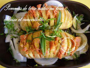 Pommes de terre cuites au four en cie de chorizo, oignons, cancoillotte (Avant et après cuisson) Simple et bon :) Jaclyne www.cuisineetgourmandise.fr