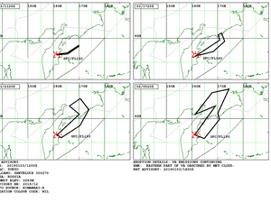 Sheveluch - Volcanic Ash Advisory for the 3rd and 4th of January - Doc. VAAC Tokyo - one click to enlarge