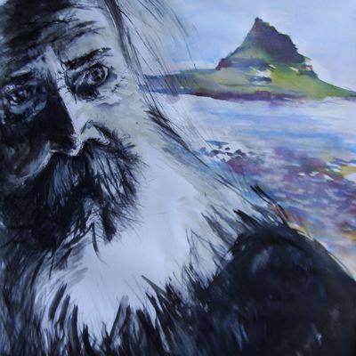 Dessin à l'encre : le viel homme et la mer d 'Islande .