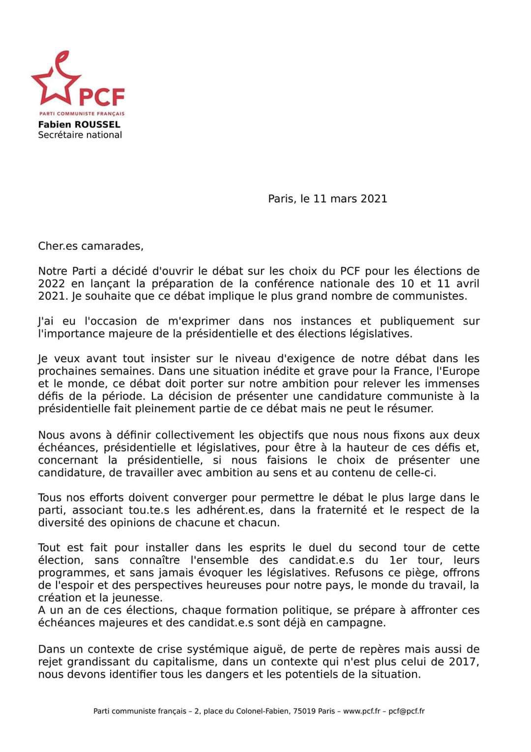Présidentielle 2022 : Fabien Roussel propose sa candidature