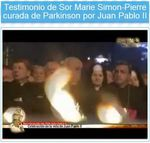 Sor Marie Simon-Pierre, Video Testimonio despues de ser curada de Parkinson por Juan Pablo II