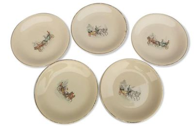 SET 5 ASSIETTES VINTAGES DILIGENCES - 12 euros