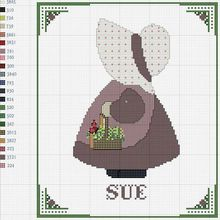 Point de croix m@ Cross stitch sue.            Petite fille de dos