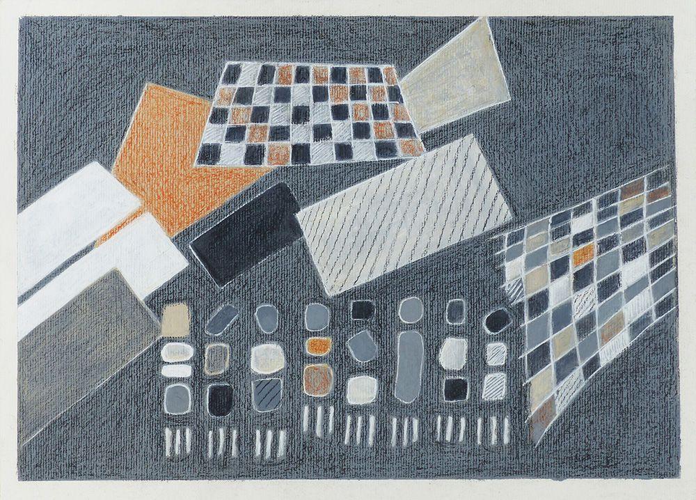 Lucienne Cywier - Sujet n°259 - Petites chanteuses minimalistes - 30 x 40 cm - Acrylique et craie sur papier